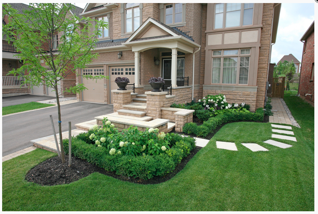 Front yard landscaping ideas with stones for Stone ideas for front yard