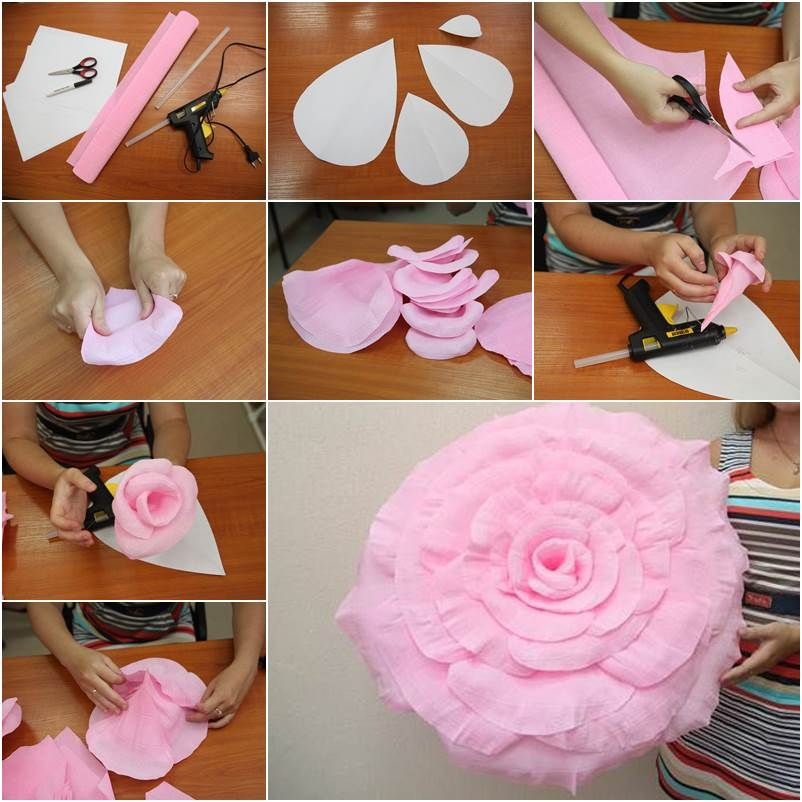 Как сделать из бумаги цветок большой
