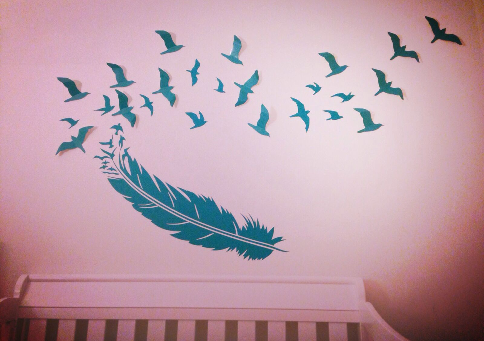Wall Decor Stickers Birds : Feather birds wall decal