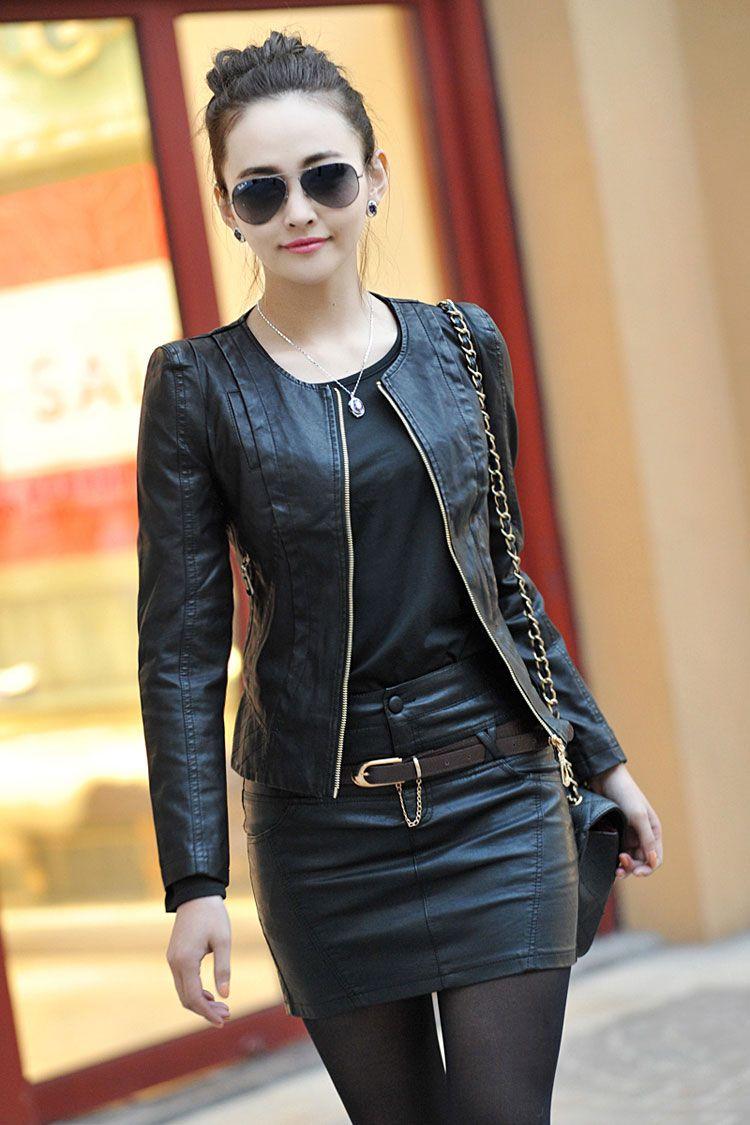 Black-spring-women-leather-clothing-female-short-design ...
