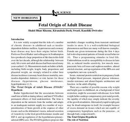 fetal origin of adult diseases