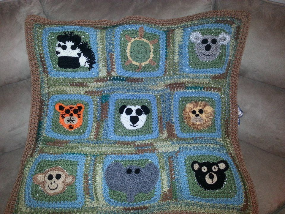 Knitting Patterns Zoo Animals : Zoo animals baby blanket crochet & knit Pinterest