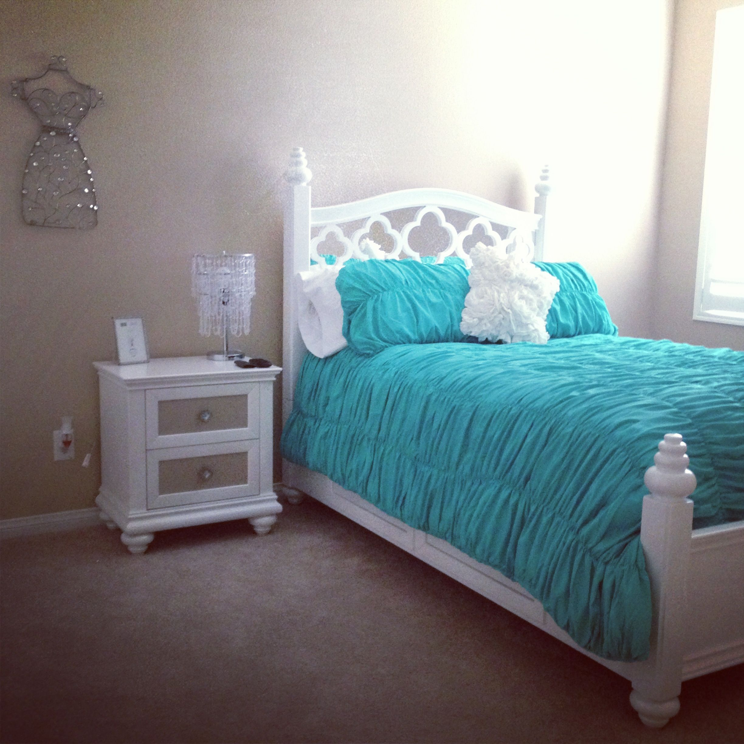 Teal and white girls bedroom all things Katie