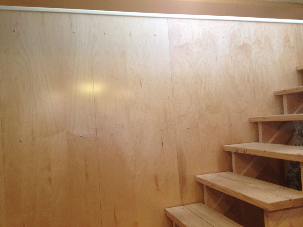 wall covering on stairs to basement for the home pinterest