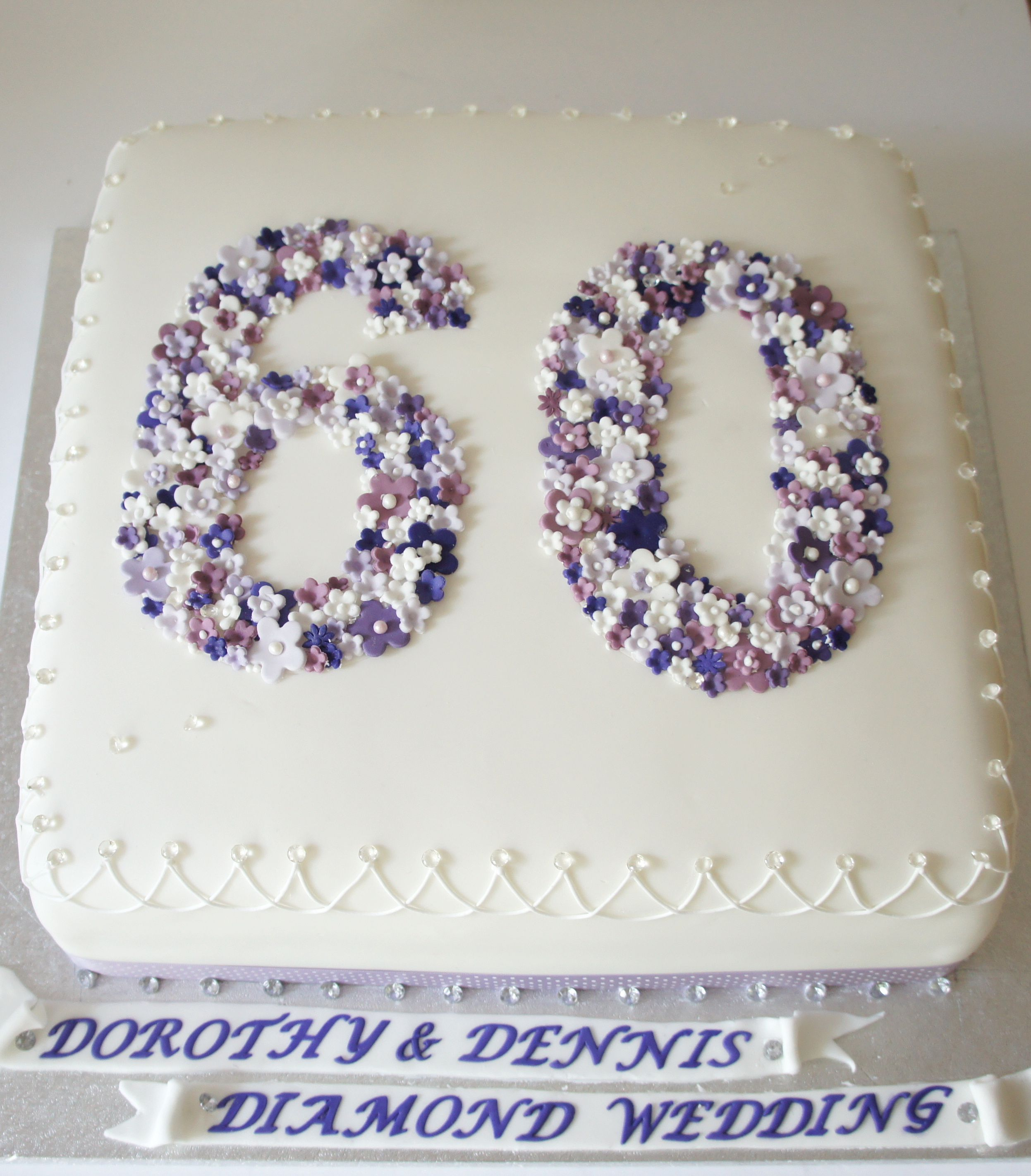 Diamond wedding anniversary Cake from