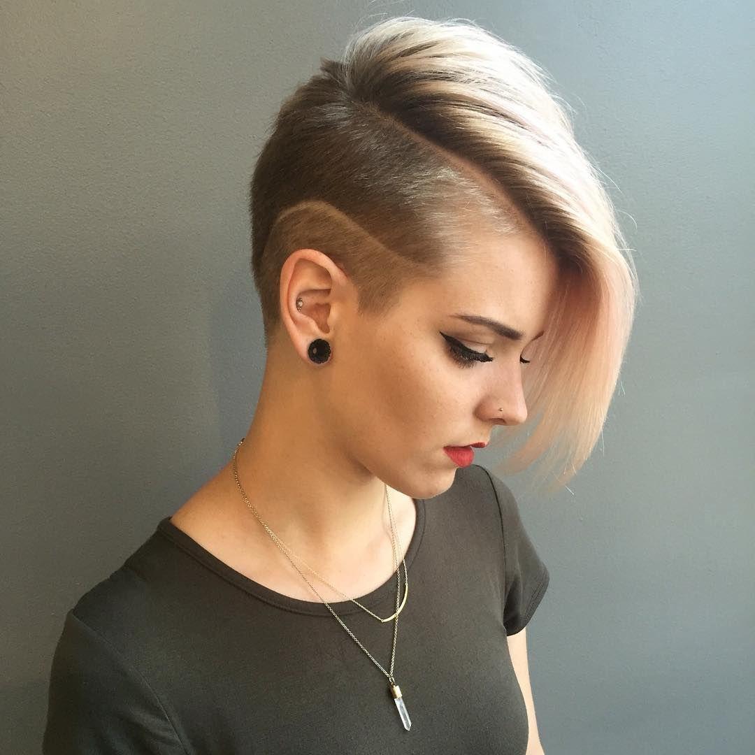 Фото причесок короткие волосы с выбритым виском