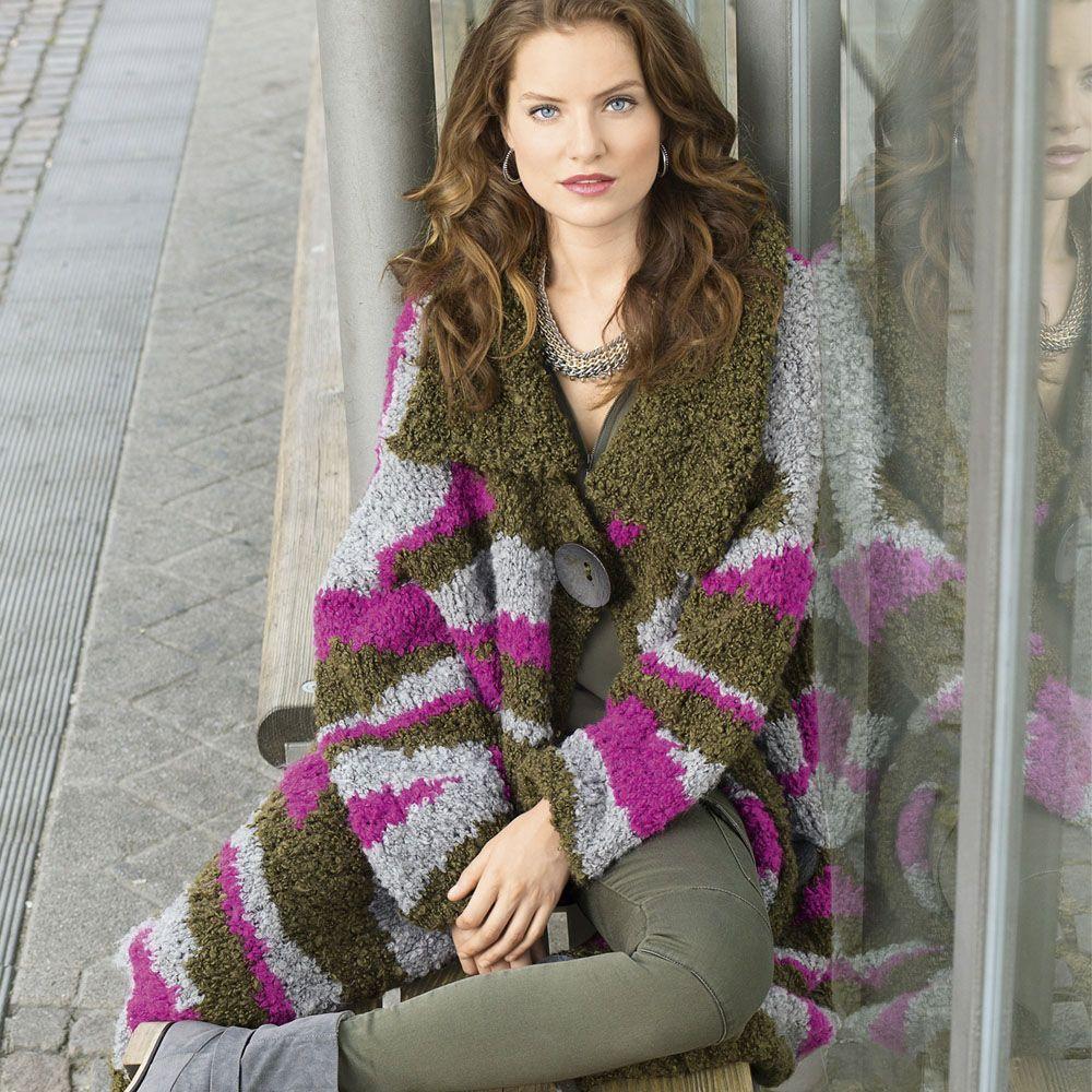 Пальто объемное вязание