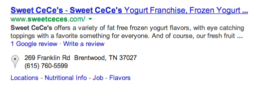 [Sweet CeCe's Brentwood] Search Query