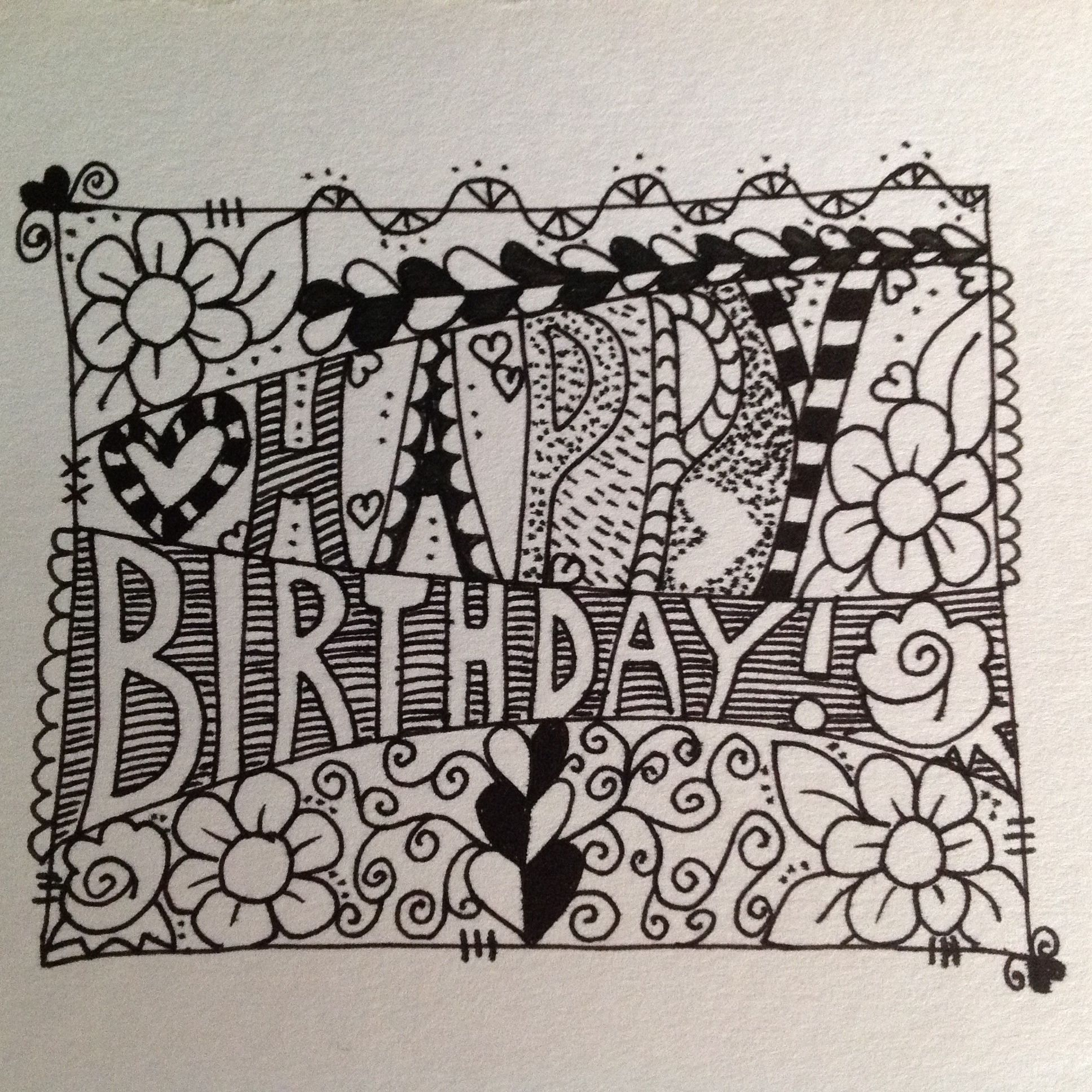 Scribble Drawing In Art Therapy : Happy birthday zentangle doodle feelin crafty pinterest