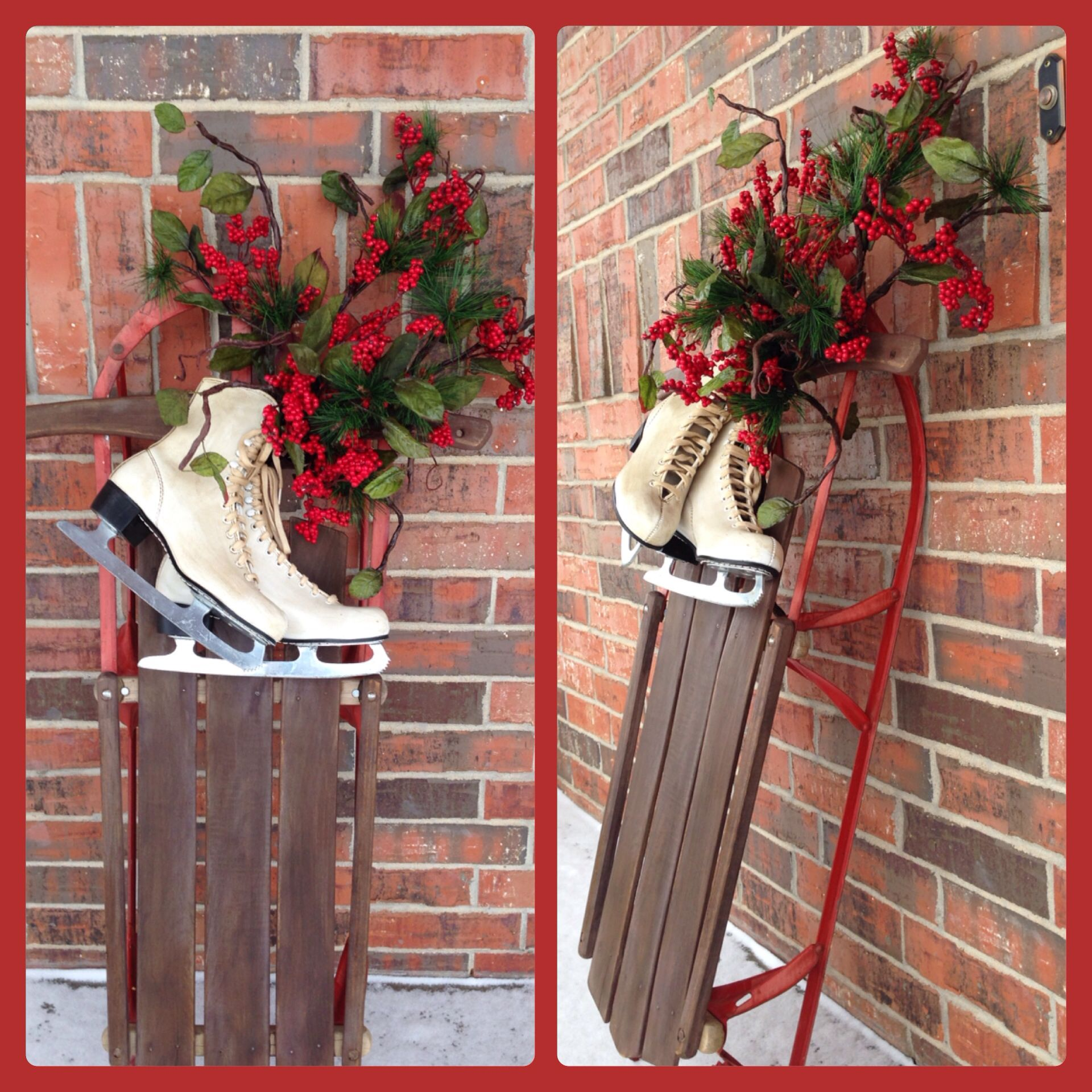 Vintage sled christmas ideas pinterest for Antique sled decoration