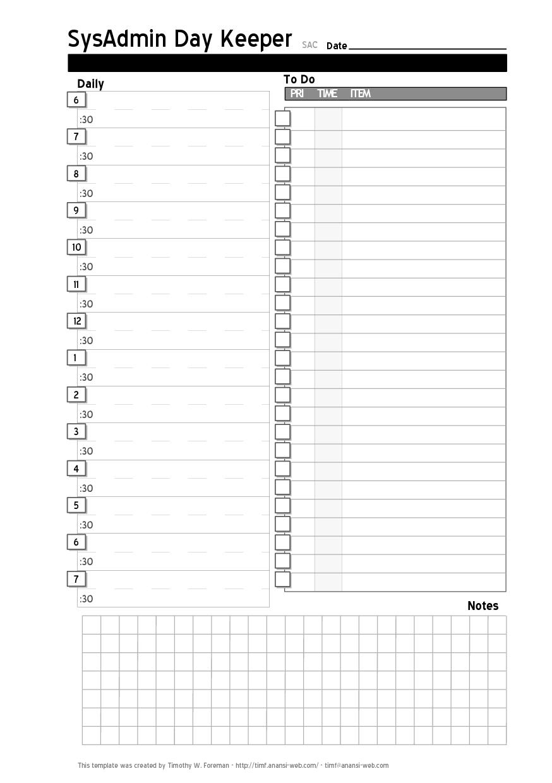 Daily Planner Calendar Template – Printable Editable Blank