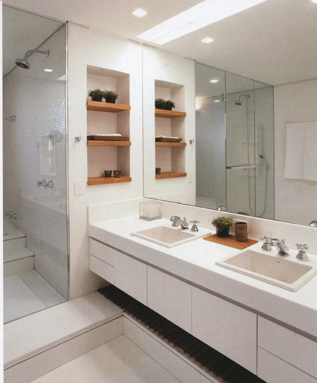 Banheiro branco Home .:. Bathroom Pinterest #945D37 3576x4314 Banheiro Branco