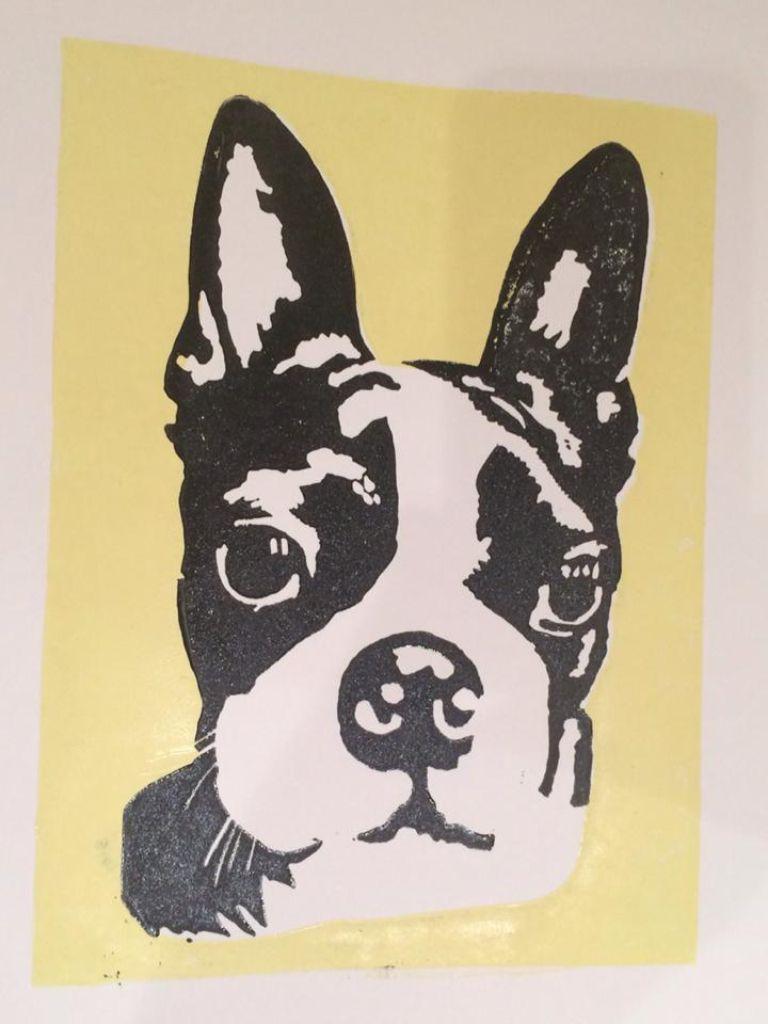 Dog print Rubber block print. | My Lino Prints | Pinterest