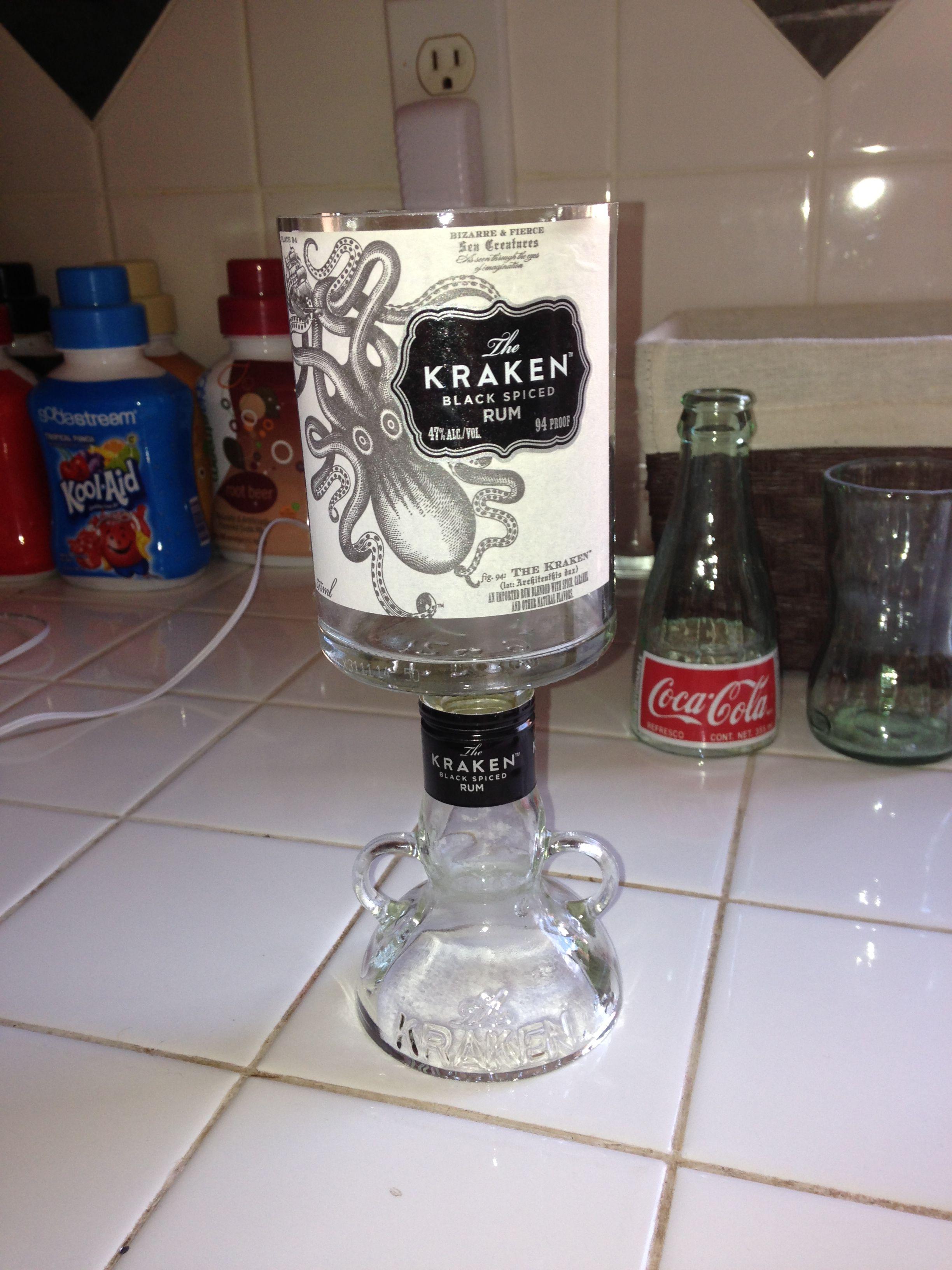 Kraken liquor bottle wine glass project ideas pinterest for Glass bottle project ideas