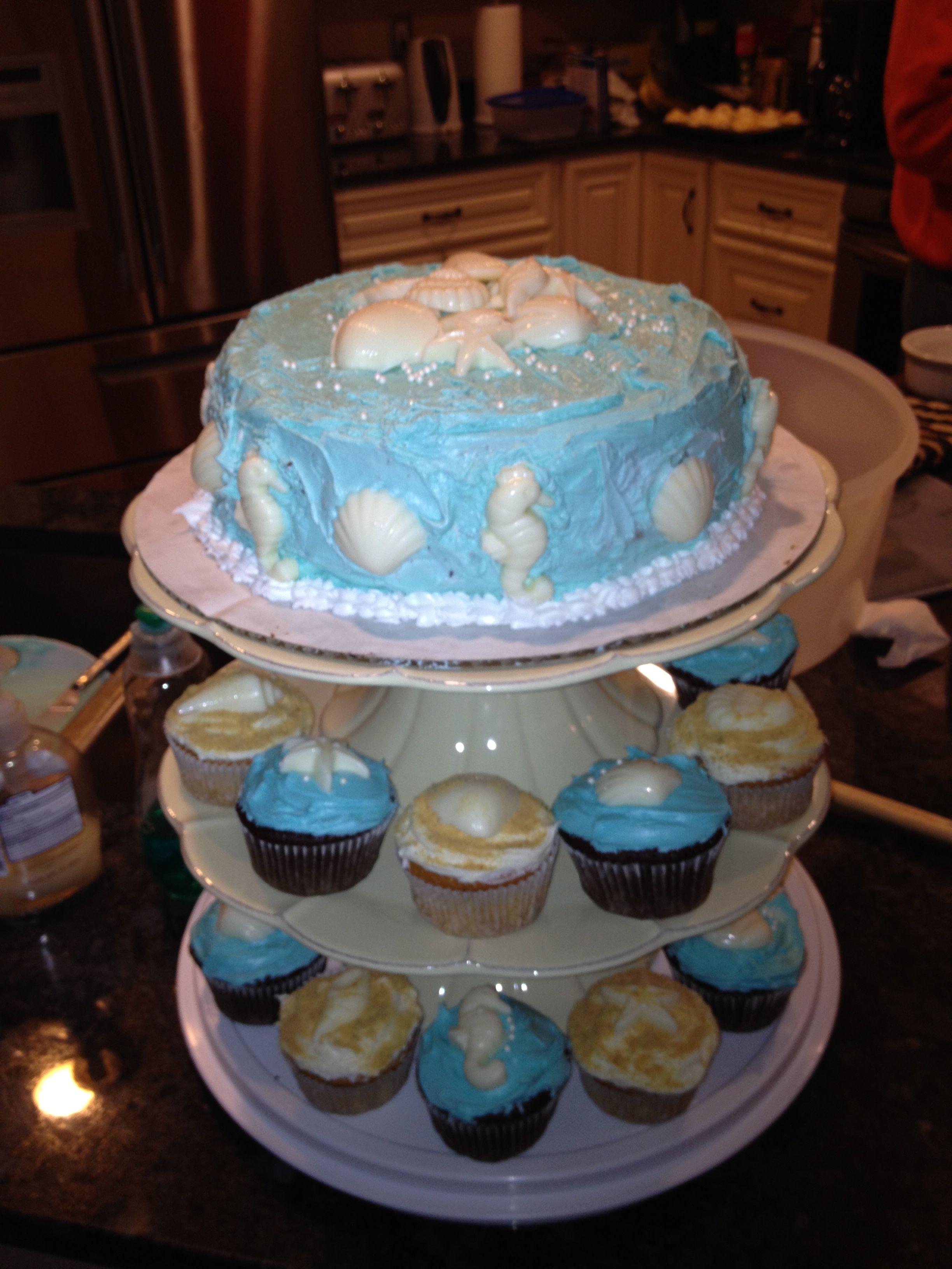 Bridal Shower cake cupcakes Beach Theme