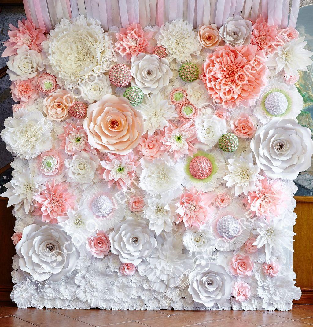 Бумажные цветы для оформления зала: декор зала и фотозона