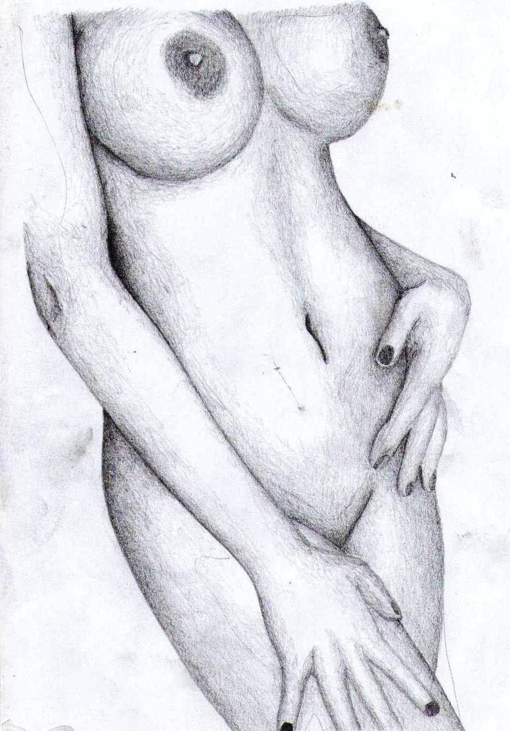 Nude girl boobs sketch with drawing adult scenes
