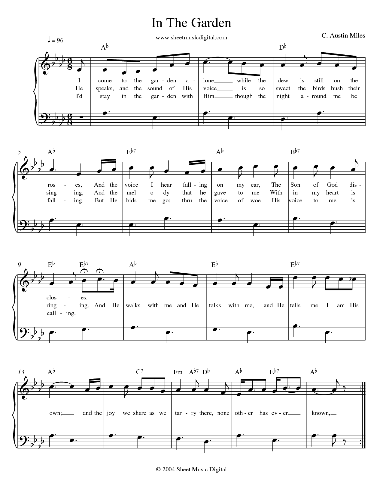 In The Garden Sheet Music Music For Piano And More Baptist Hymnal 1991 187 I Come To The Garden