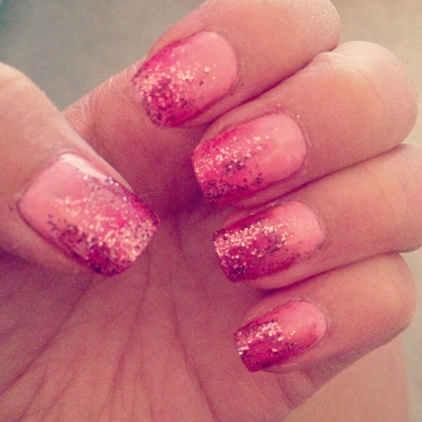 ombre pink glitter nails nails diid pinterest