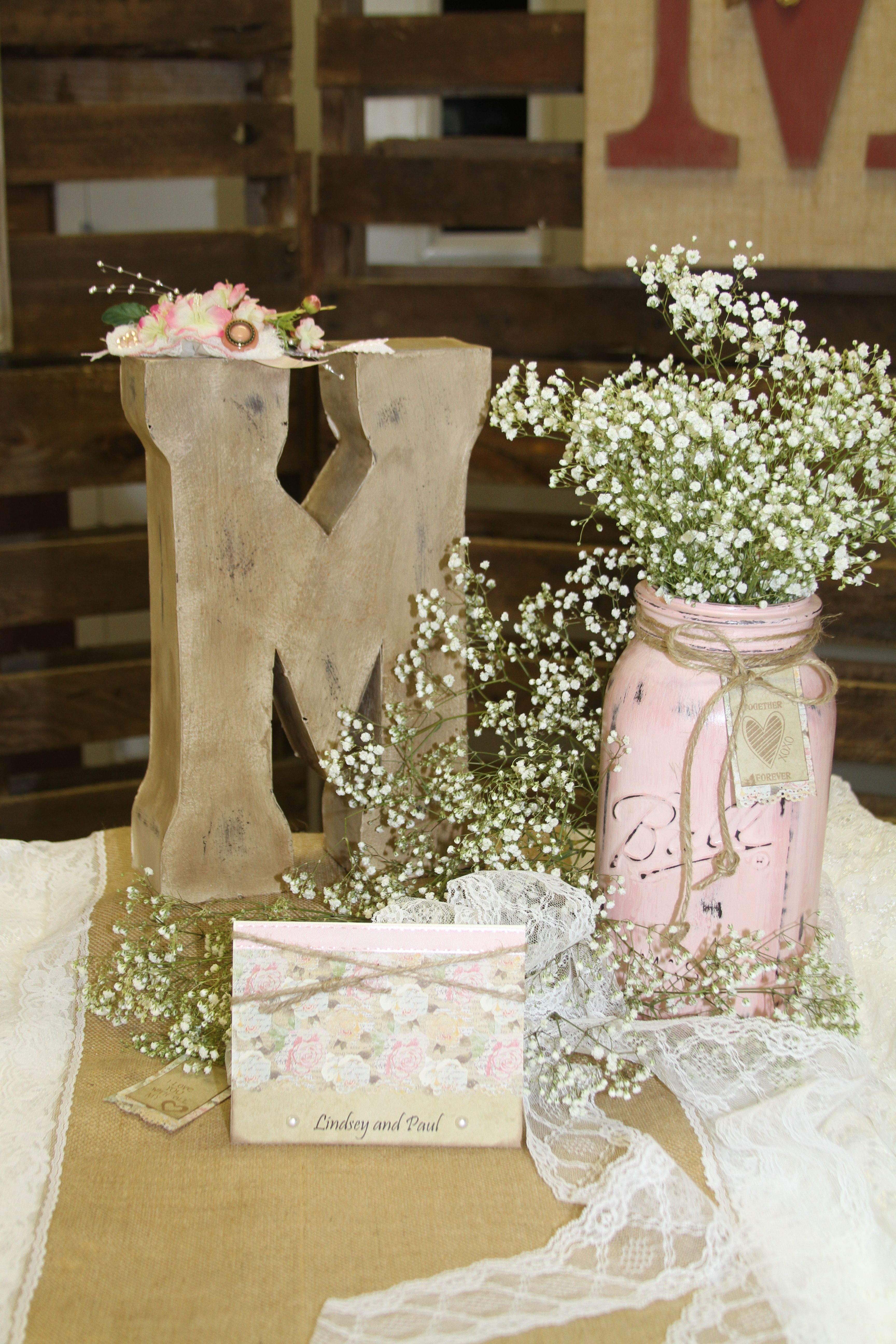 Rustic wedding centerpiece banquest parties showers