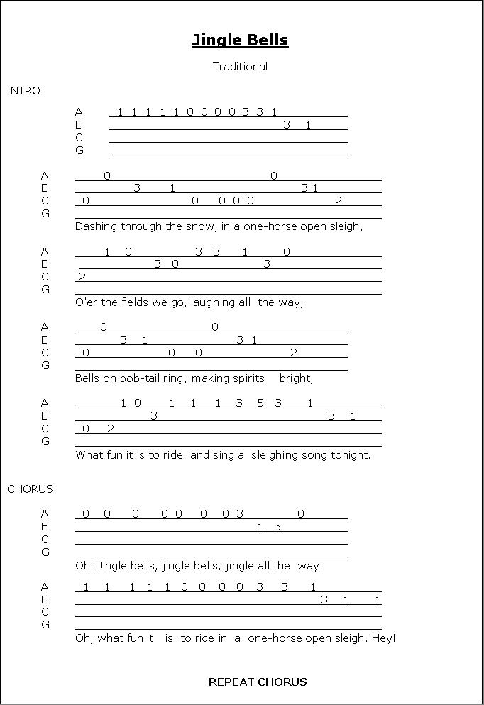 Outstanding Jingle Bells Chords Vignette Basic Guitar Chords For