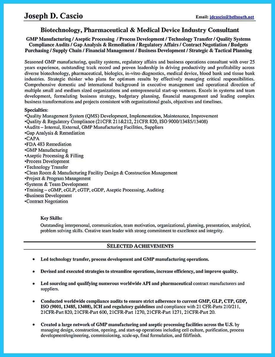 Resume For Biotech Internship