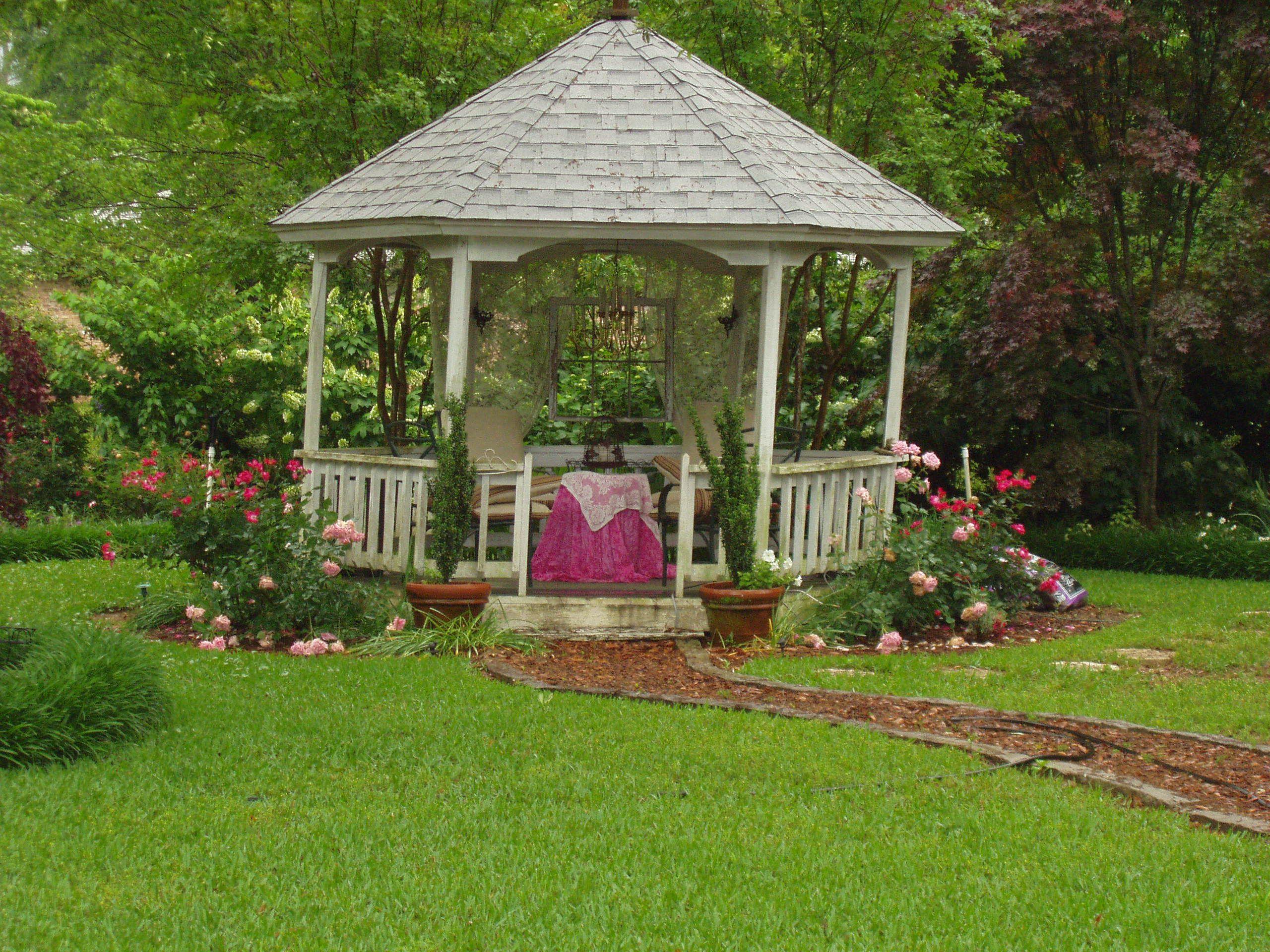 Flower Garden Gazebo : garden gazebo - pink flowers  Gazebo, Pergola & Garden Memorial Idea ...