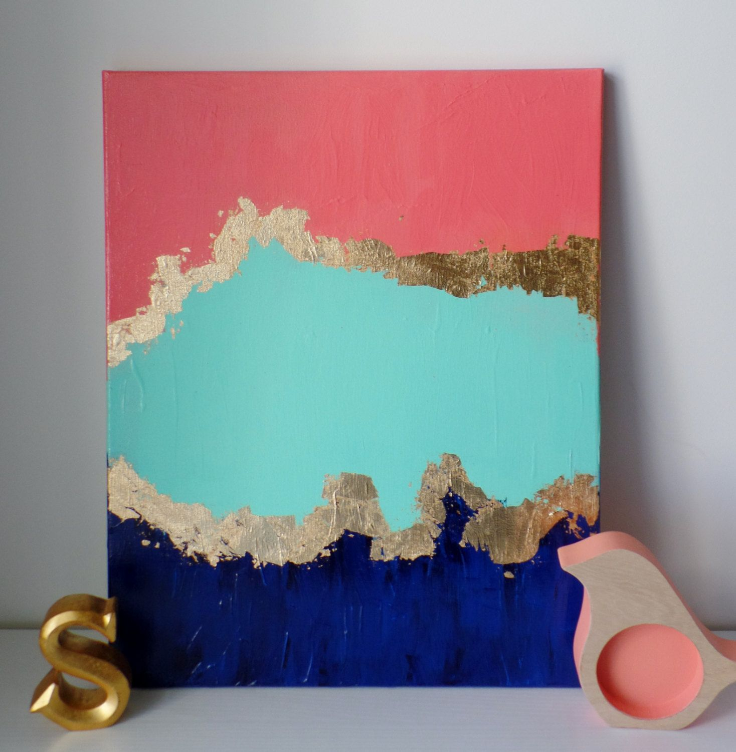 FREE SHIPPING Abstract Coral, Navy, Mint Professional Acrylic Paint & Canvas, Gold Leaf, Home Wall Decor, Trendy, Nursery, Unique,