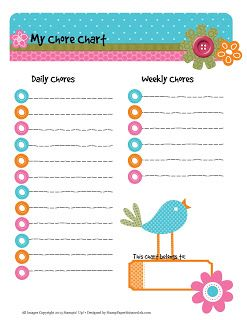 Free Printable Chore Chart. Check off Daily & Weekly chores. Print ...