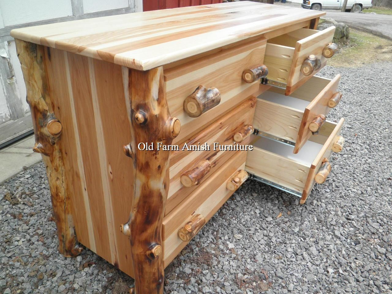 Pin by old farm amish furniture rustic log amish for Log furniture