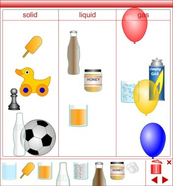 Printable worksheets for first grade science on solids liquids and gases