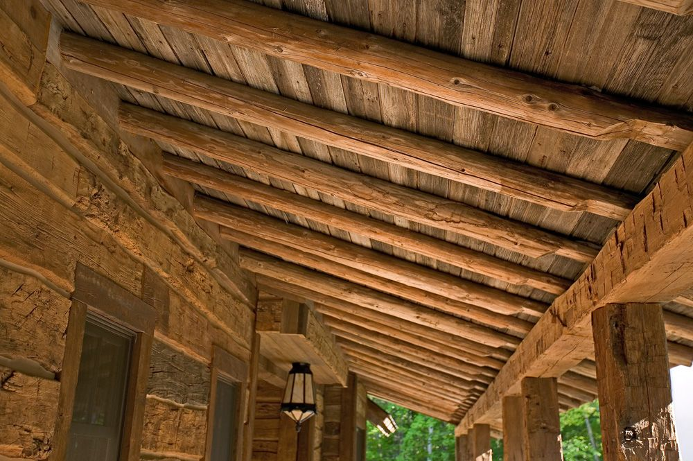 Porch ceiling beams log homes cabins rustic decor for Home rustic ceiling ideas