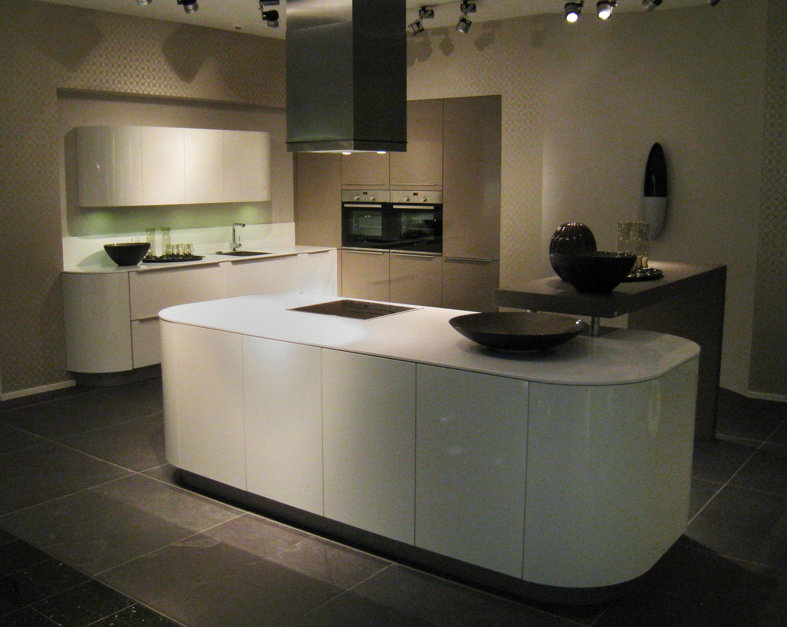 Kitchen island seating - Nice White Curved Island Hacker Kitchen Showroom Pinterest