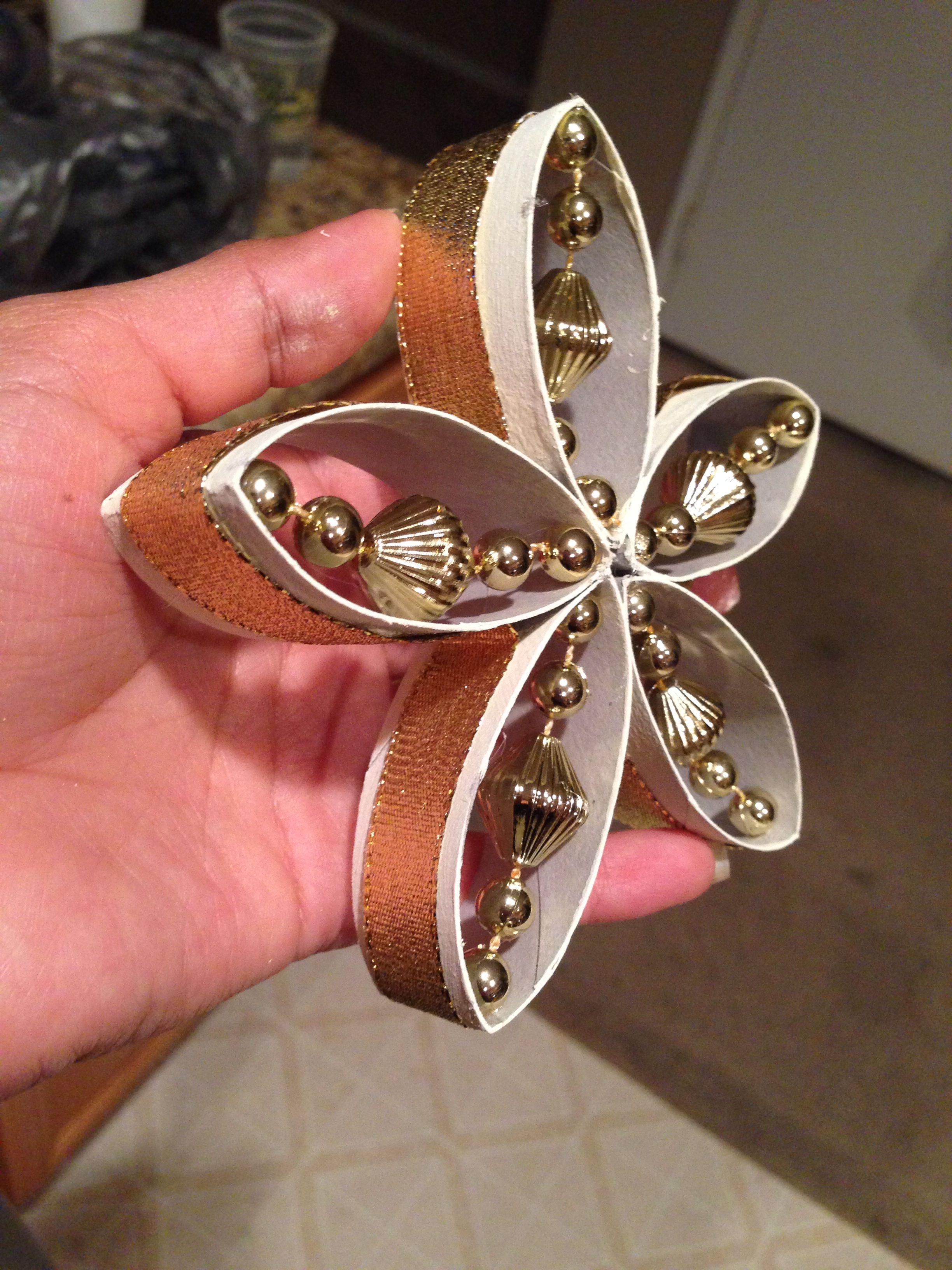 gold flake toilet paper. toilet paper roll christmas ornament with beads \u0026 ribbon. gold flake ~