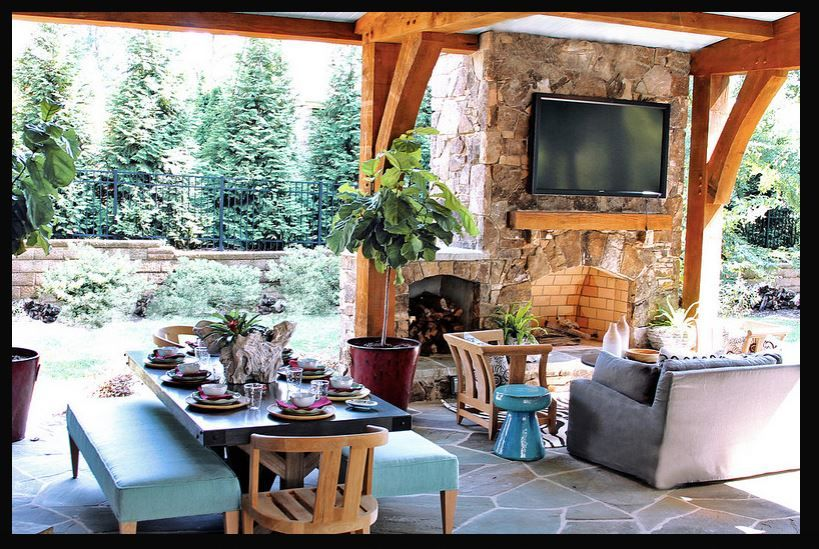 Outdoor fireplace on patio sunroom ideas enclosed porches pinte