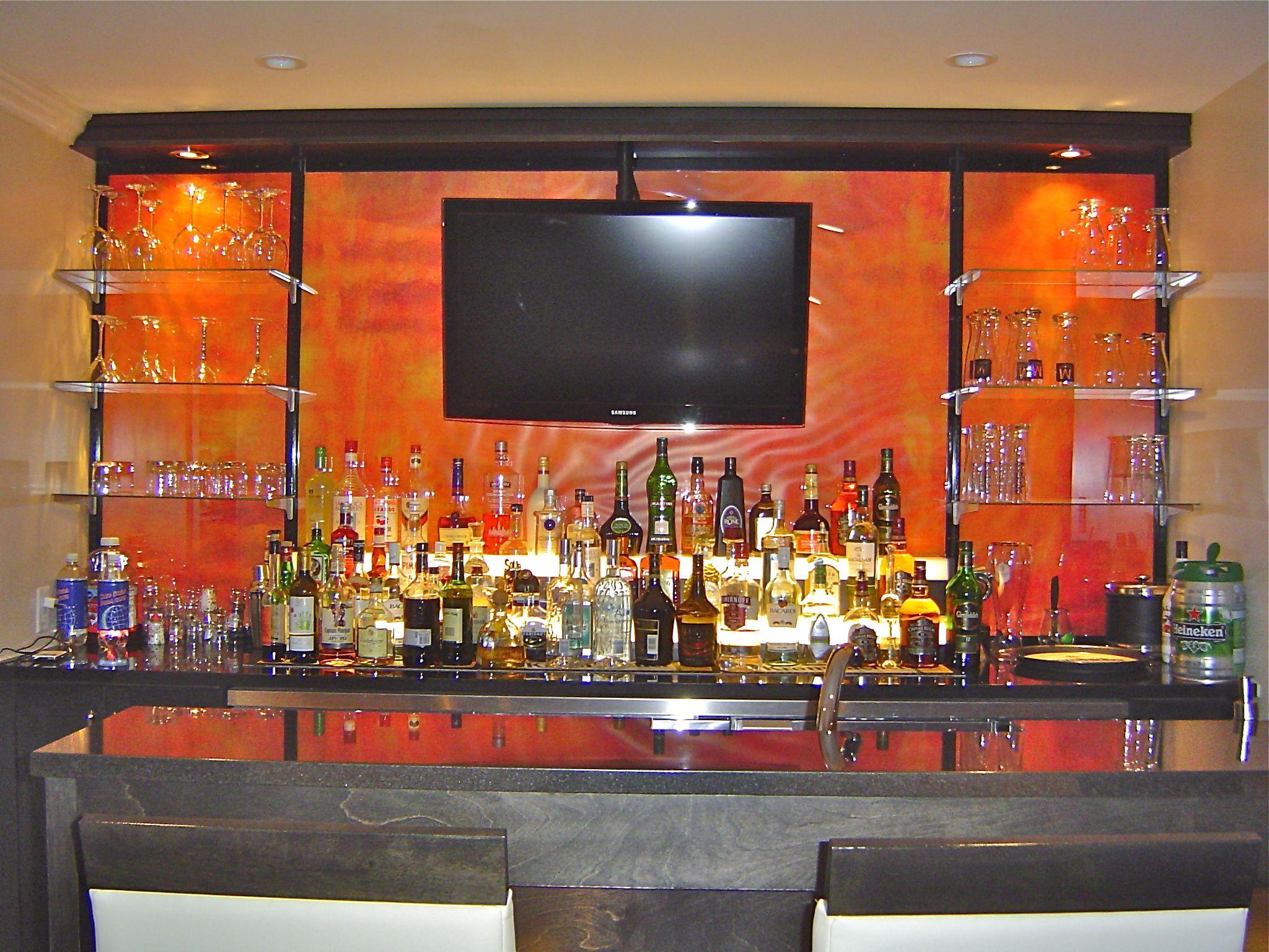 Bar glass shelving bartender uniforms ideas for bar for Lounge shelving ideas