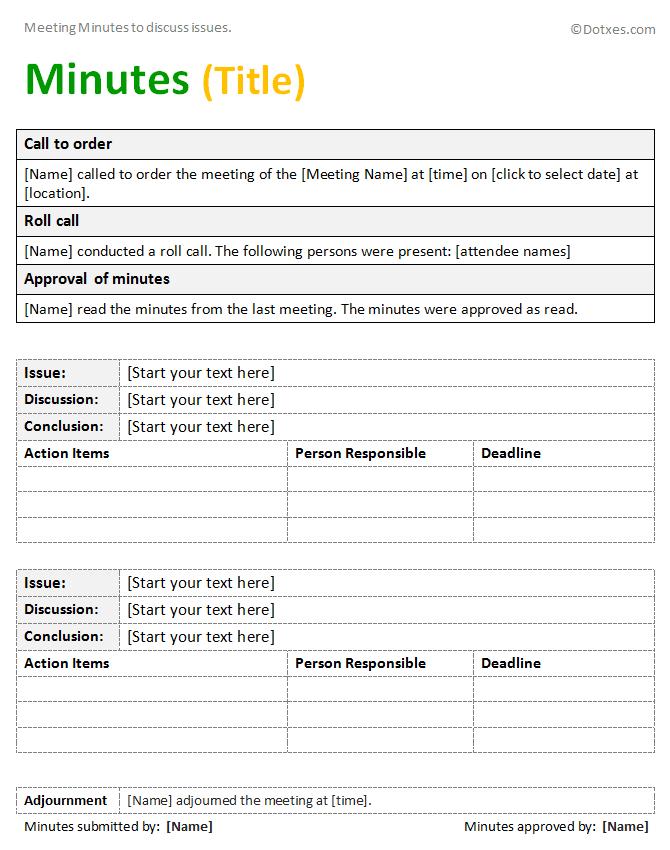 Meeting summary template