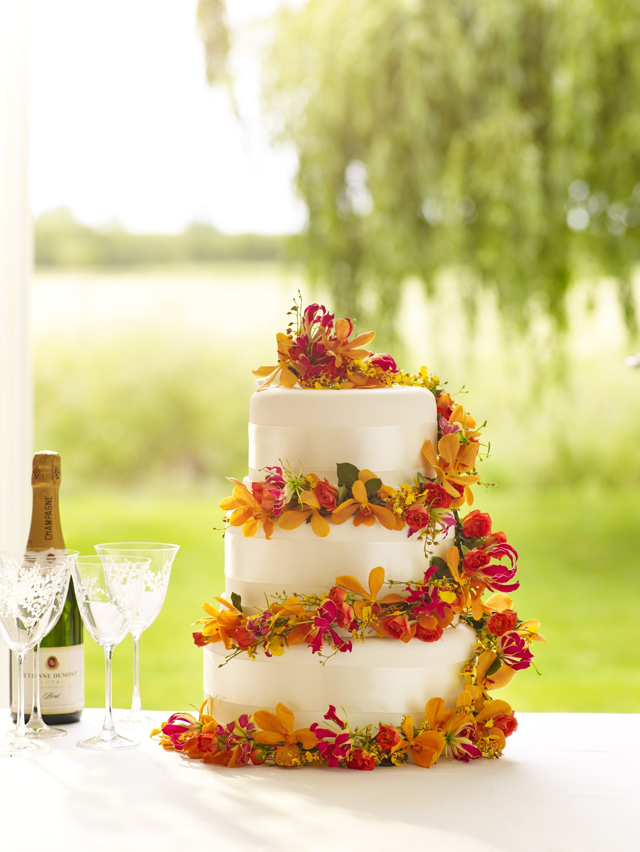 Summer floral wedding cake decoration