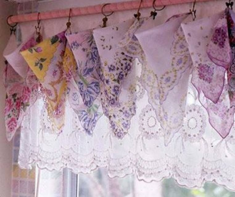 Vintage Handkerchief Window Valance