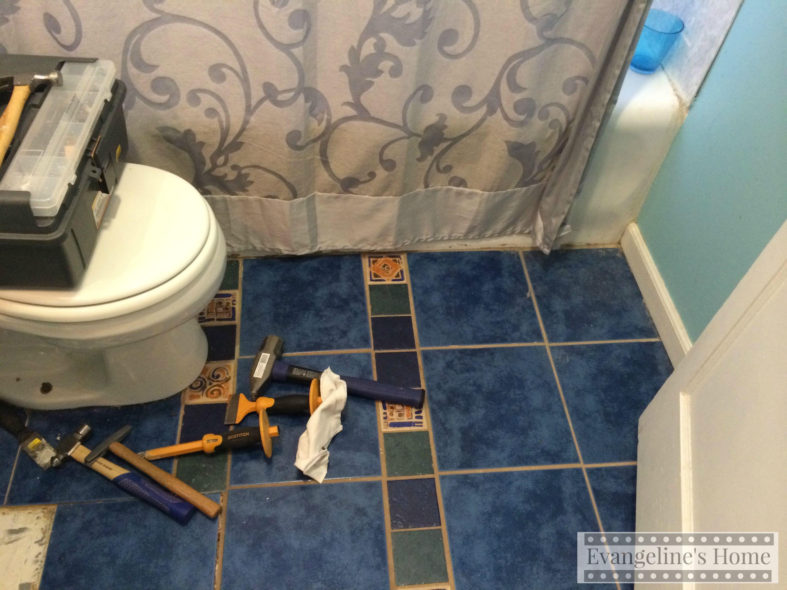 Removing bathroom floor tile