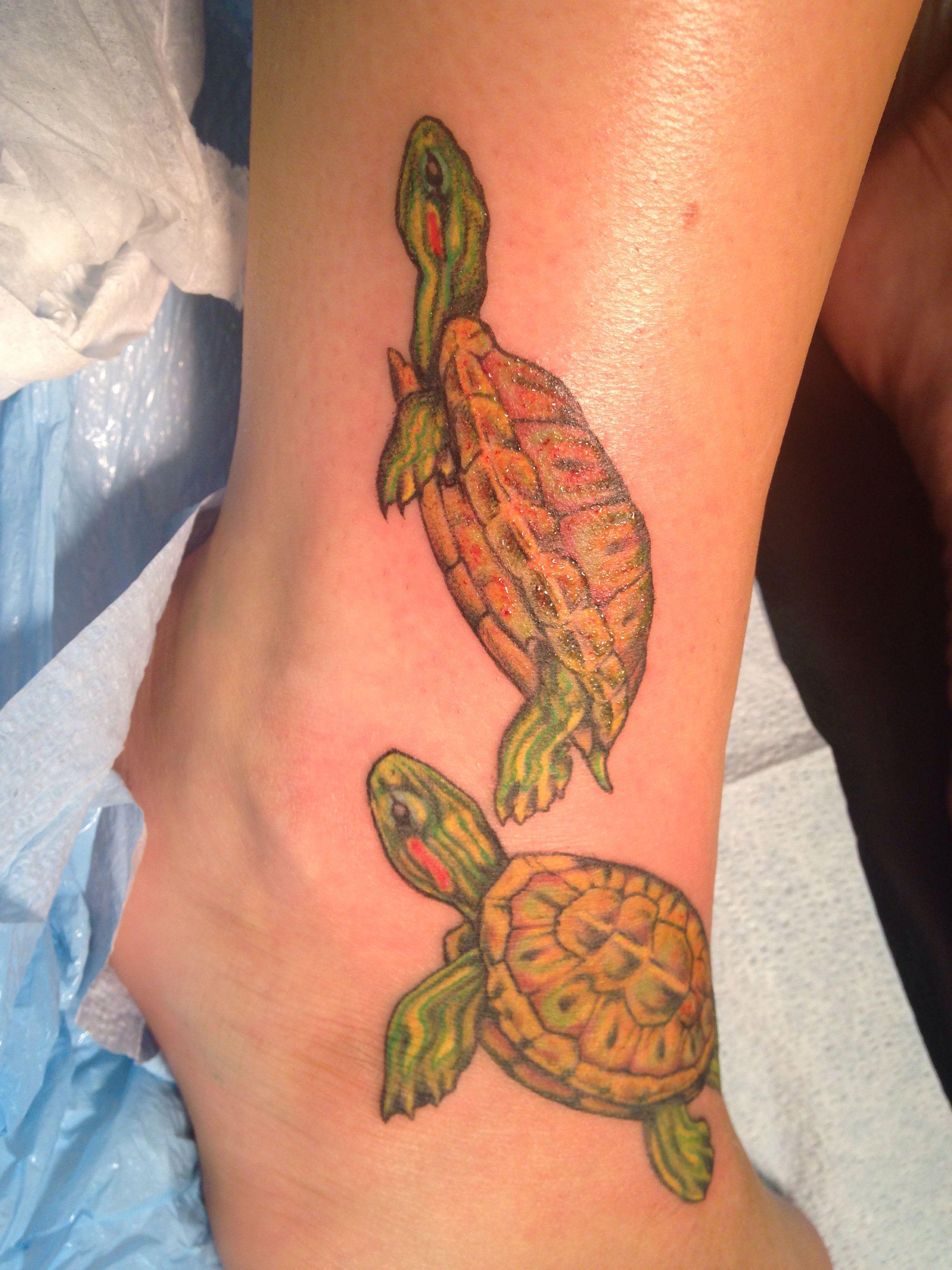 Turtle tattoos on ankle