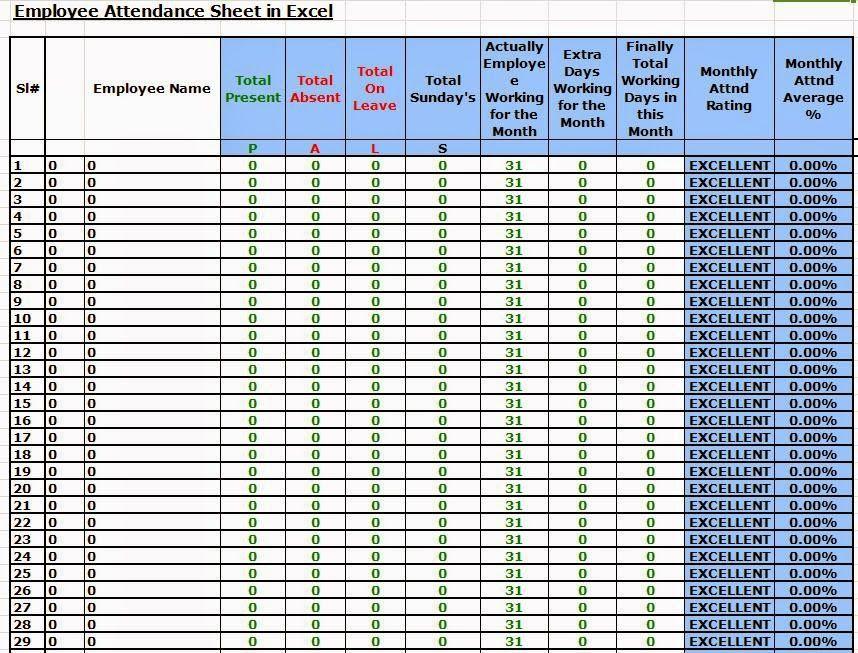 Attendance Sheet Html – Blank Calendars 2017
