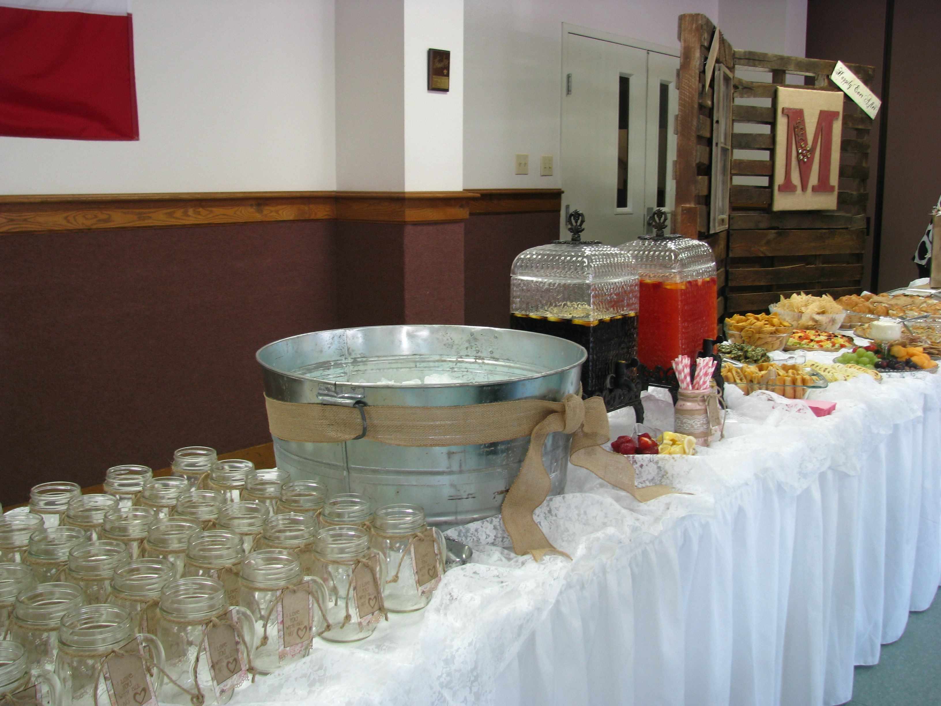 Rustic wedding shower banquest parties showers etc for Wedding reception bathroom ideas