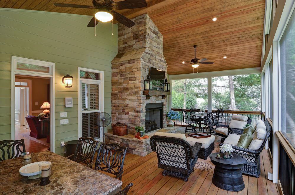 Screened Porch Addition With Fireplace 3 Season Porch Pinterest