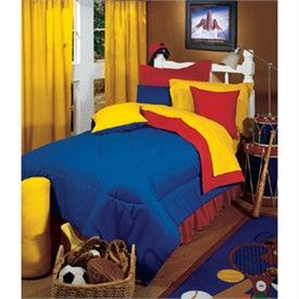 blue and yellow bedding | Kids Decor Primary Colors Red