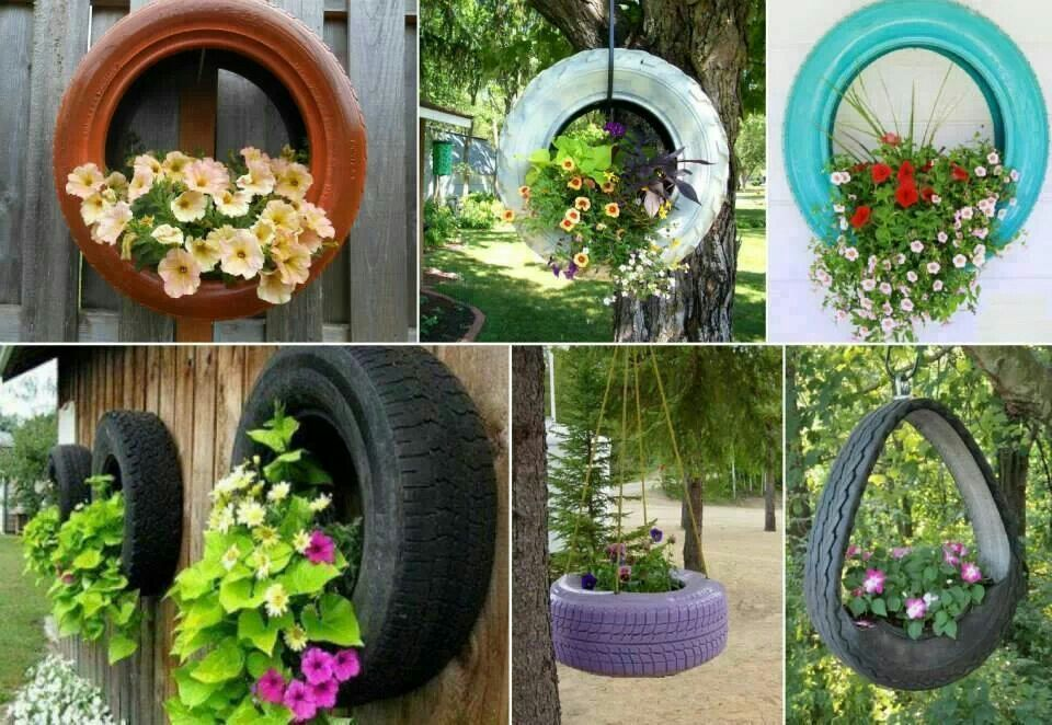 Tire planters diy crafts that i love pinterest for How to use old tires in a garden