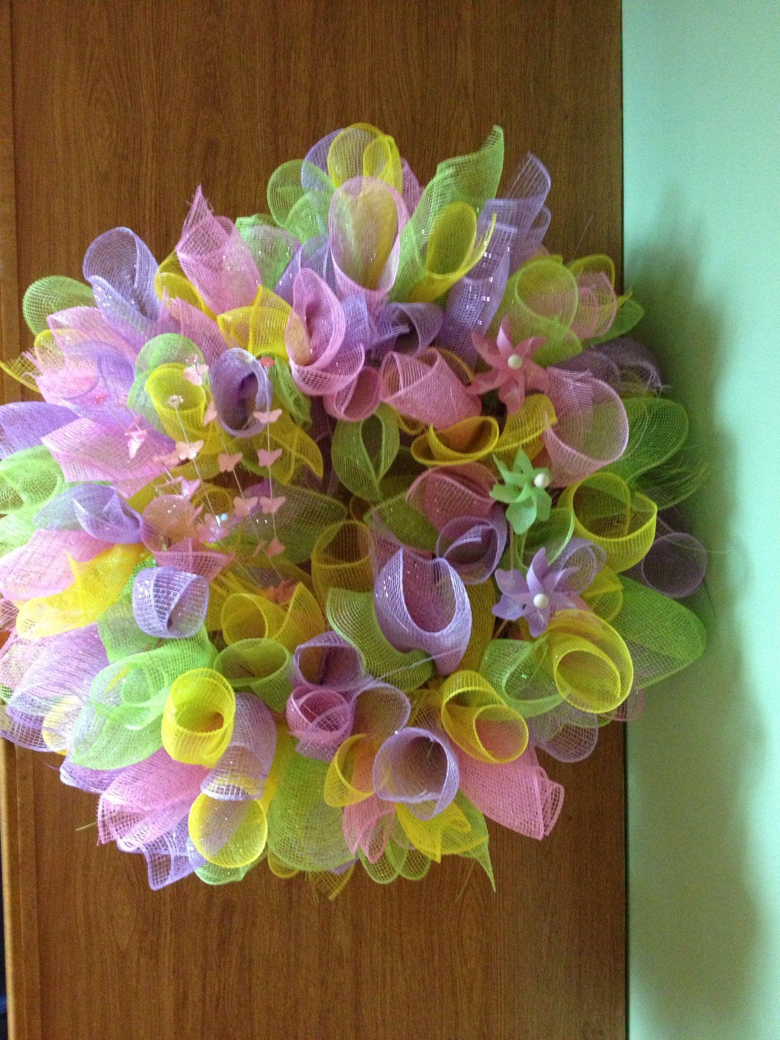 Deco Mesh Easter Wreath Deco Mesh Pinterest