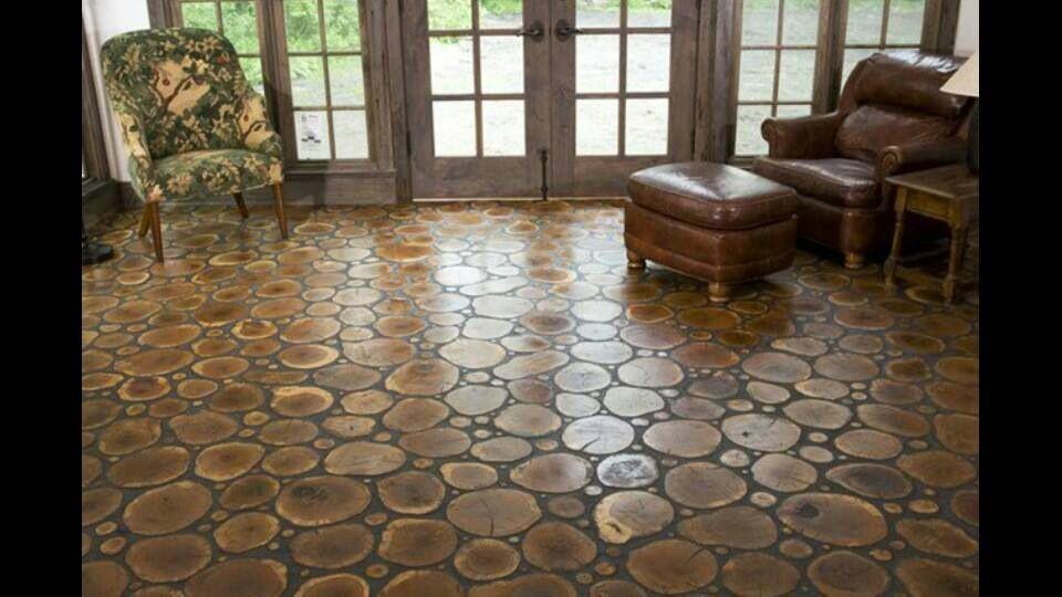 Wood round floor interests pinterest for Interesting flooring ideas