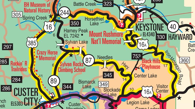 Dakota Tourism info – Black Hills Tourist Map