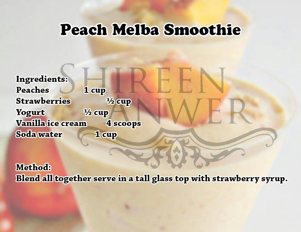 Peach Melba Smoothie | « Drinks-Cocktails-Smoothies » | Pinterest